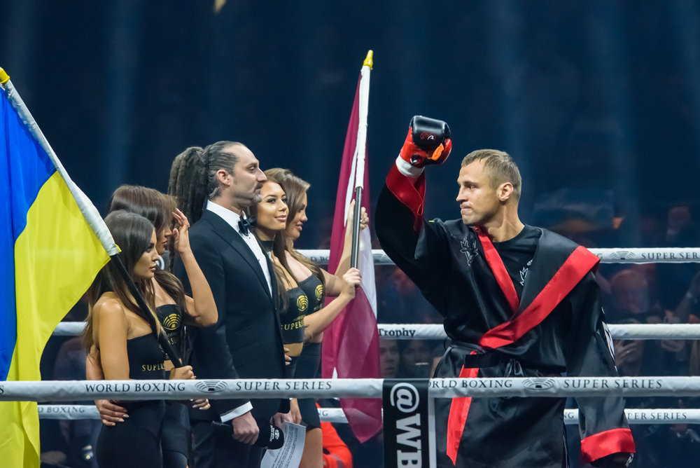 28.01.2018. RIGA,LATVIA. World Boxing Super Series semi final fight between Mairis Briedis and Oleksandr Usyk. Arena