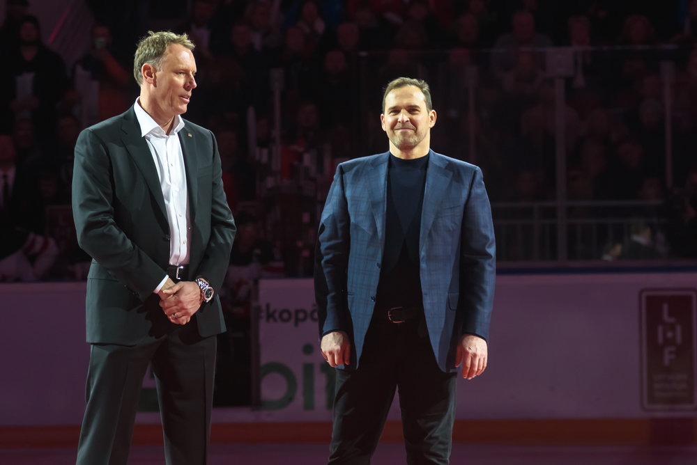 04.02.2018. RIGA, LATVIA. Sean Burke and Arturs Irbe, before Pre-tournament game between Canada National ice hockey team and National ice hockey team of Latvia at Arena Riga.
