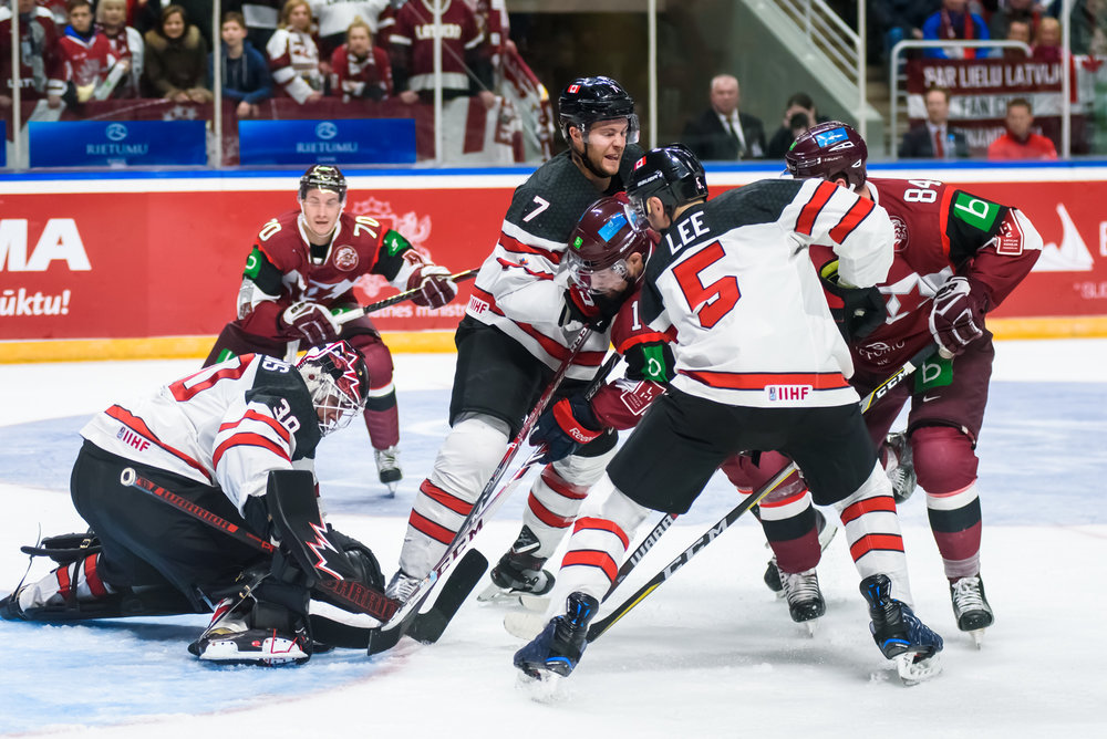04.02.2018. RIGA, LATVIA. Pre-tournament game between Canada National ice hockey team and National ice hockey team of Latvia at Arena Riga.