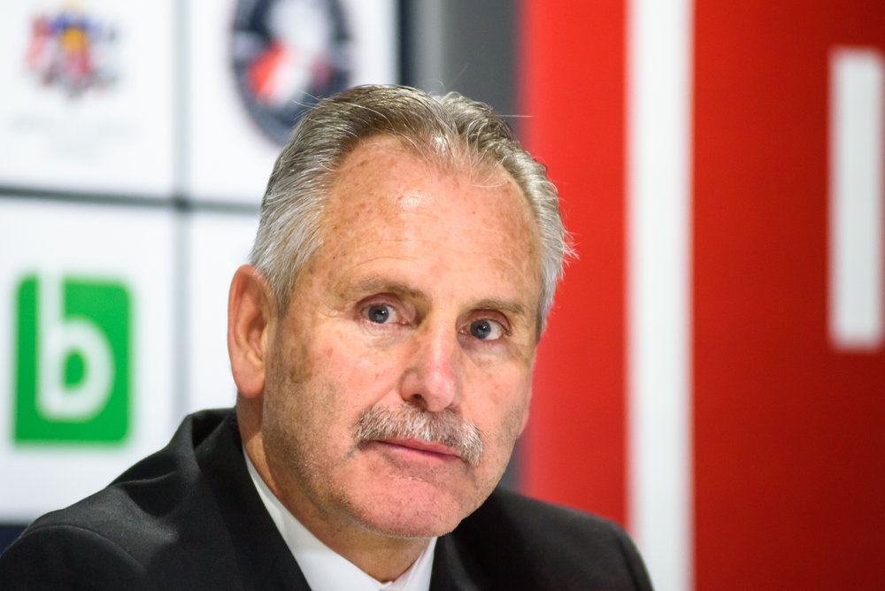 04.02.2018. RIGA, LATVIA. Willie Desjardins, head coach of team Canada at press conference Pre-tournament game between Canada National ice hockey team and National ice hockey team of Latvia at Arena Riga.