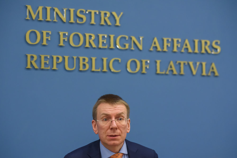 22.02.2018. RIGA, LATVIA. Press conference at Latvian Ministry of Foreign Affairs - U.S. Deputy Secretary of State Mr John J. Sullivan and Edgars Rinkevics, Latvian Minister of Foreign Affairs.
