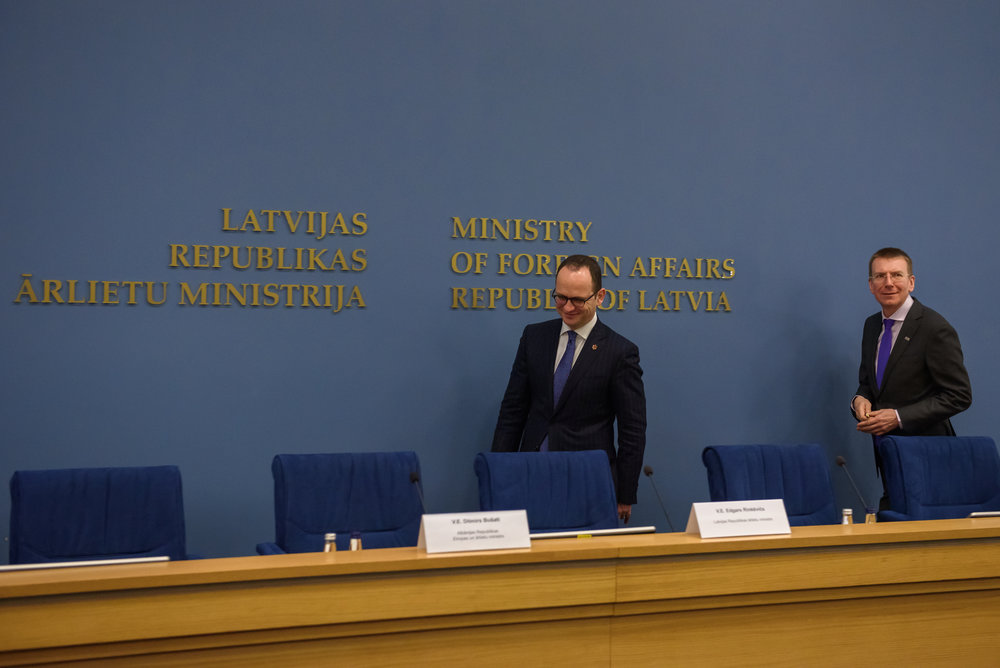 21.02.2018. RIGA, LATVIA. Press conference after Latvian minister of Foreign Affairs Edgars Rinkevics meeting with Albanian minister of Foreign Affairs Ditmir Bushati.