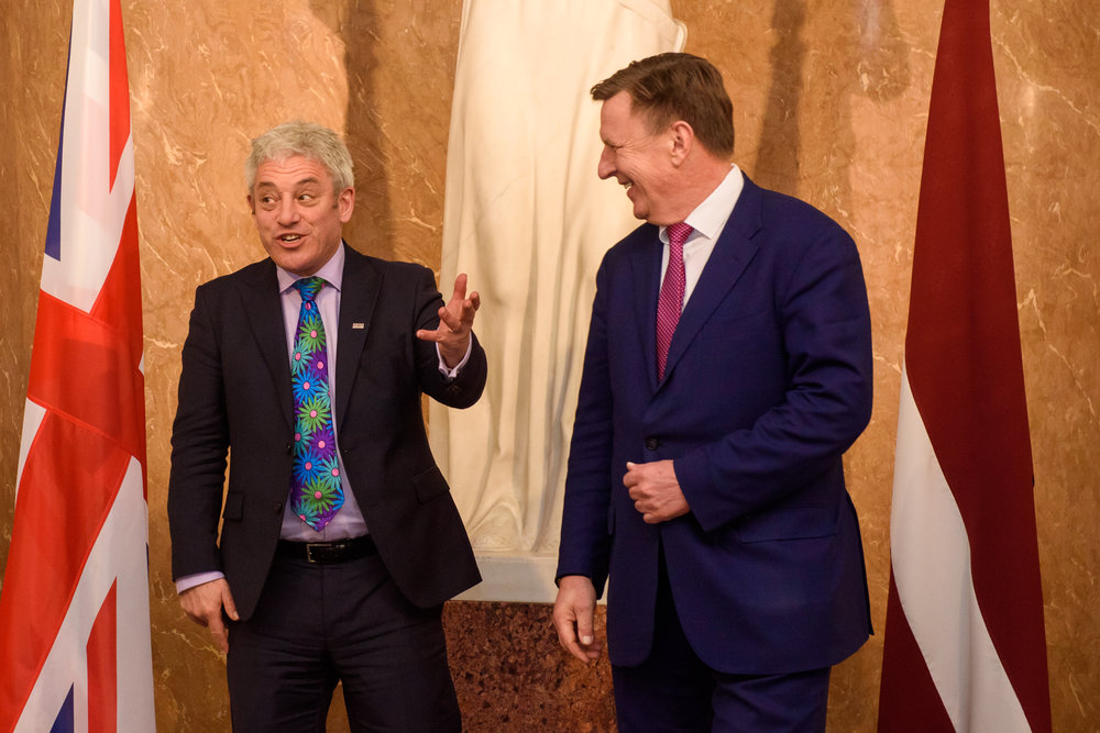 14.02.2018. RIGA,LATVIA. John Bercow, the Speaker of the British House of Commons meets with Prime minister of Republic of Latvia Maris Kucinskis. Government of Latvia.
