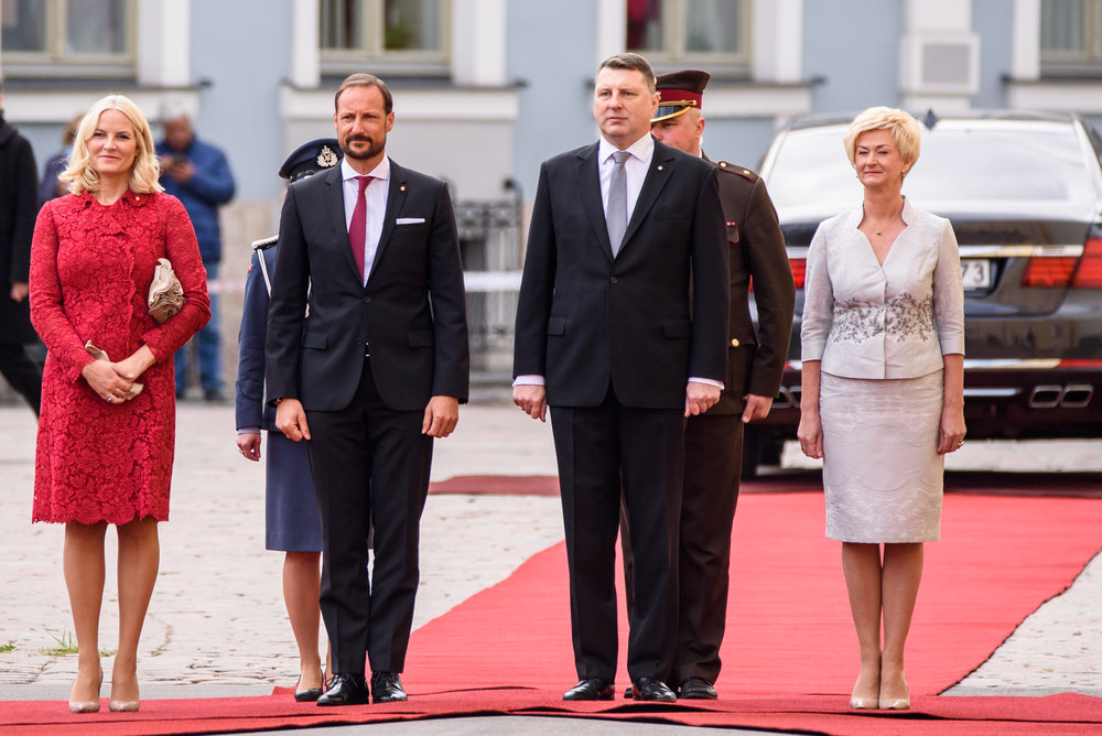 23.04.2018. RIGA, LATVIA. His Royal highness Crown Prince Haakon and her Royal highness Crown Princess Mette-Marit of the Kingdom of Norway to the Republic of Latvia. Riga Castle.