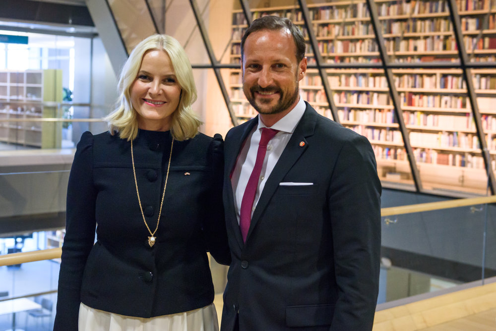 23.04.2018. RIGA, LATVIA. Crown Prince Haakon , Crown Princess Mette-Marit of the Kingdom of Norway and president of Latvia Raimonds Vejonis with his wife Iveta Vejone at press conference in National Library of Latvia.