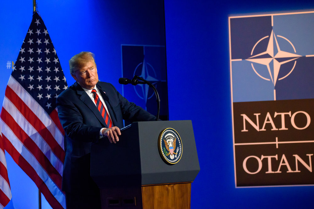 12.07.2018. BRUSSELS, BELGIUM.  Press conference of Donald Trump, President of United States of America, during NATO (North Atlantic Treaty Organization) SUMMIT 2018. ""