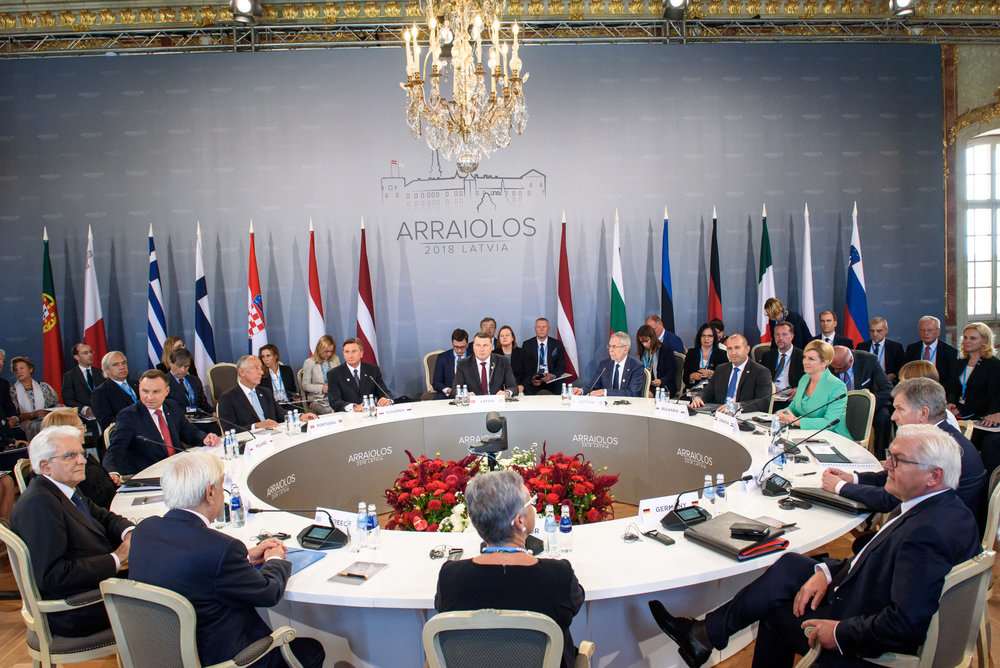 13.09.2018. RUNDALE, LATVIA. First working session, during the 14th Informal Meeting of the Arraiolos Group in Rundale palace, Latvia.