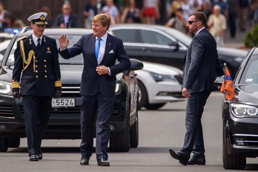 11.06.2018. Flowers laying ceremony at Monument of Freedom, during State visit of his Majesty King Willem-Alexander of the Netherlands to the Republic of Latvia.