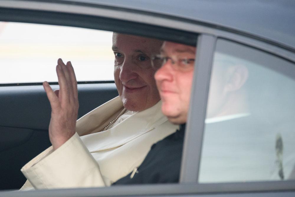 "24.09.2018. RIGA, LATVIA. His Holiness Pope Francis arriving at Riga International Airport""."