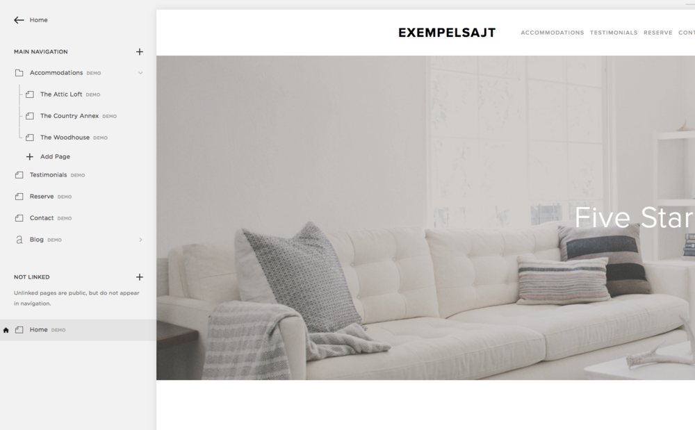 Squarespace Pages-meny