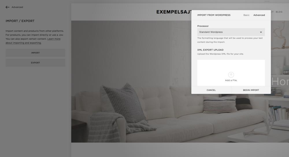 Importera från Wordpress till Squarespace