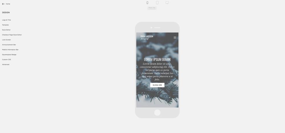 Squarespace responsiv mobilsajt mobilvy
