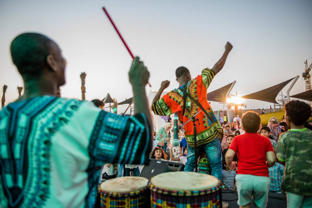live performance African Drums Circle You don't want your kids to miss this! They can beat to their hearts' content with this troop of African Drummers. Full of rhythm, fun, dancing, and laughter, you're going to want to jump into the drum circle with them! Friday 5:45 PM & Saturday 5:50 PM