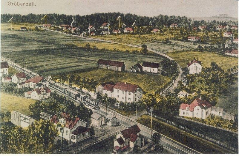 Etwa um 1920 war Gröbenezll noch sehr übersichtlich  …   (Fotos: Archiv Gröbenzell und Gröben Hüter)