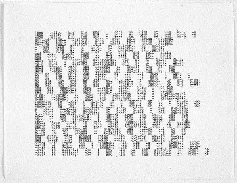 Carl Andre, then I pulled his gun and I, 1975.   Typewriter ink on paper.   28 x 21.5 cm