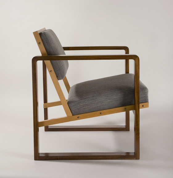 (via  bauhausbarbican4.jpg (561×577) )      Josef Albers Club Chair from Oeser's home, 1928 Mahogany veneer, beech wood, maple, with flat cushions 75 x 61.6 x 67.6 cm Bauhaus-Archiv Berlin Photograph: Fotostudio Barsch © VG Bild-Kunst, Bonn, Germany