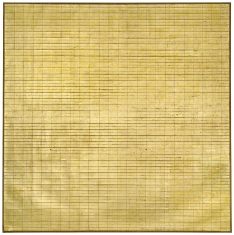 Agnes Martin   Friendship  1963 incised gold leaf and gesso on canvas   Museum of Modern Art, New York