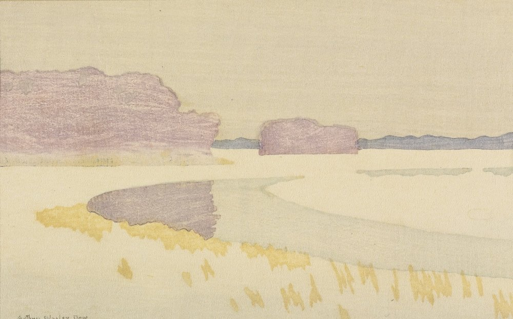 conversationswiththelight :     Arthur Wesley Dow (USA 1857-1922)  Bend of a River (Sunset)  c. 1898 woodcut printed in colors, on simili-Japan 112 by 180mm