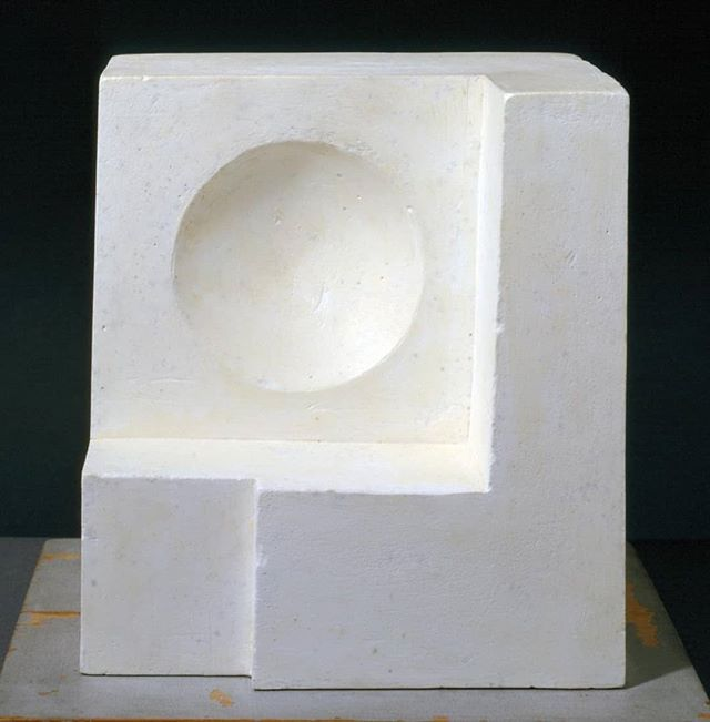 Ben Nicholson 1936 (white relief sculpture - version 1)  Tate  Around 1936, while sharing a studio with Barbara Hepworth, Nicholson produced the only two known sculptures of his career, of which this is one. The main differences between this work and c.1936 (sculpture) (Tate T04119) lie in the materials and composition. While c.1936 (sculpture) was carved from mahogany and painted white, 1936 (white relief sculpture - version 1) was carved from white plaster. The continuation from earlier carved reliefs of the circle and rectangle motif in the plaster sculpture is not evident among the interlocking cubes of c.1936 (sculpture). - Tate