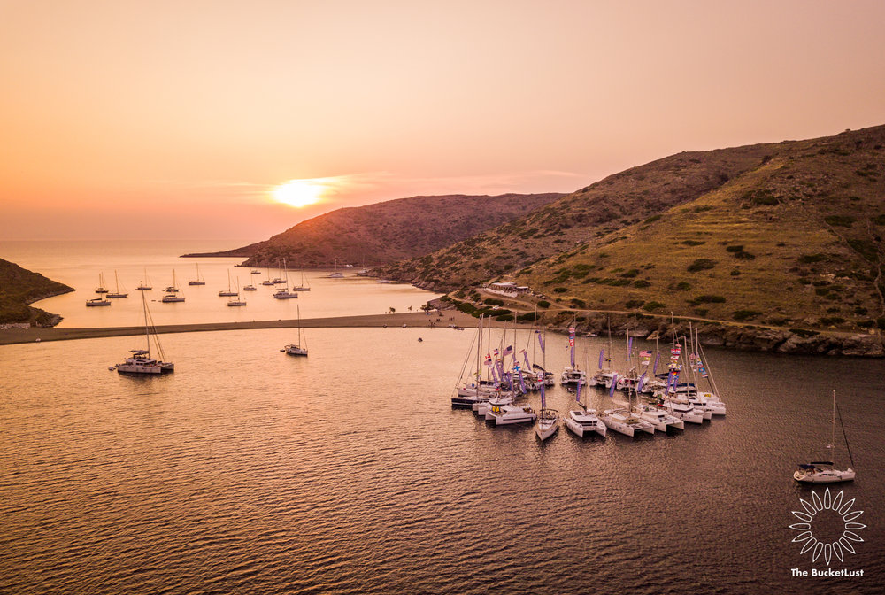 Night falls over Burning Yacht - The Mykonos Route