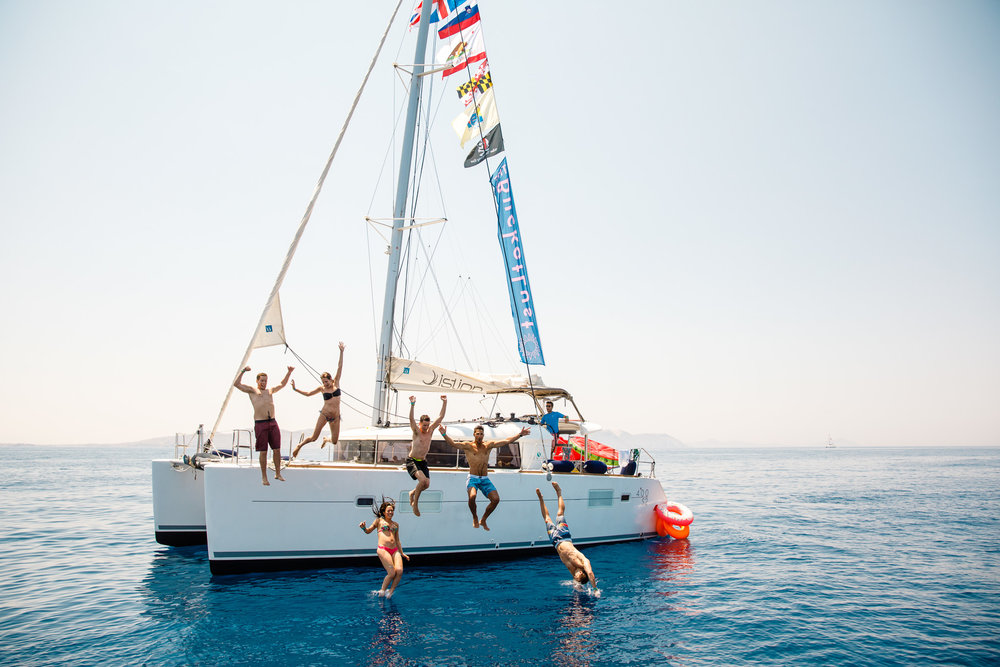 Swim stop on the yacht - The Mykonos Route