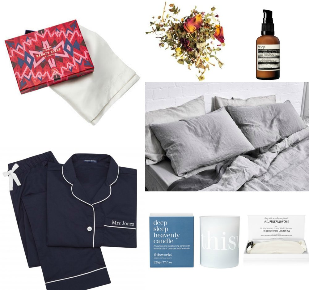 Clockwise from top left: 1. Beauty Sleep Silk Pillowcase $90 2. T2 Nighty Night Loose Leaf Tea $17 3. Aesop Blue Camomile Facial Hydrating Masque $55 4. In Bed 100% Linen Duvet Cover $200 5. Slip Silk Eye Mask $55 6. This Works Deep Sleep Heavenly Candle $62 7. Jasmine and Will Monogrammed Pyjama Set $149