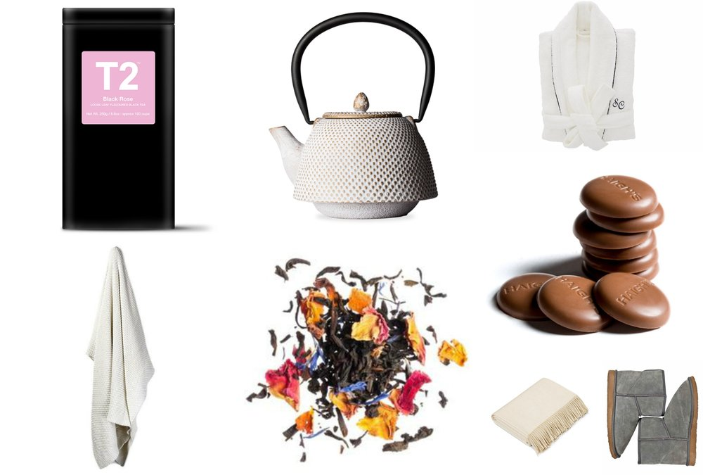 Clockwise from top left: 1. T2 Black Rose Tea $35 2. T2 Jolly Jewels Arare White and Gold Teapot $171 3. Sheridan Elissa Robe $149.95 4. Haighs Milk Orange Pastilles $7.95 5. Peter Alexander Home Boots $120 6. Hermes Cashmere Blanket $4,355 7. T2 Black Rose Tea, loose big tin $35 8. Home Republic Santora Blanket $79.96
