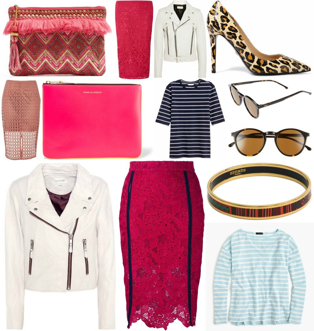 Clockwise from top left: 1. Steve Madden Clutch $65 2. Dorothy Perkins Lace Skirt $57 3. Saint Laurent Leather Biker Jacket $4,950 4. H&M T-shirt $14.99 5. Diane von Furstenberg Snakeskin Heels $162 6. Komodo Aston Sunglasses $119.95 7. Pre-loved Hermes Bangle $400 8. J Crew Stripe T-shirt $34.50 9. MSGM Lace Pencil Shirt $270 10. Comme des Garcons Fluro Leather Pouch $145 11. Isabel Marant Leather Biker Jacket $920 12. River Island Lace Skirt $30