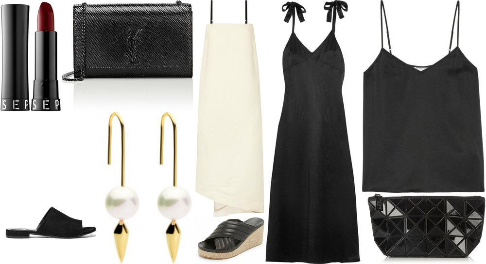 Clockwise from top left: 1. Sephora Collection Rouge Cream Lipstick $20 2. Saint Laurent Kate Womens Chain Bag $919 3. Bassike Asymmetric Crepe Midi Dress $595 4. Reformation Silk Maxi Dress $377 5. Equipment Washed Silk Camisole $140 6. Bao Bao Issay Miyake Bag $189 7. DKNY Lana Wedges $74 8. Amber Sceats Porter Earrings $119.95 9. Cora Mule $39.95