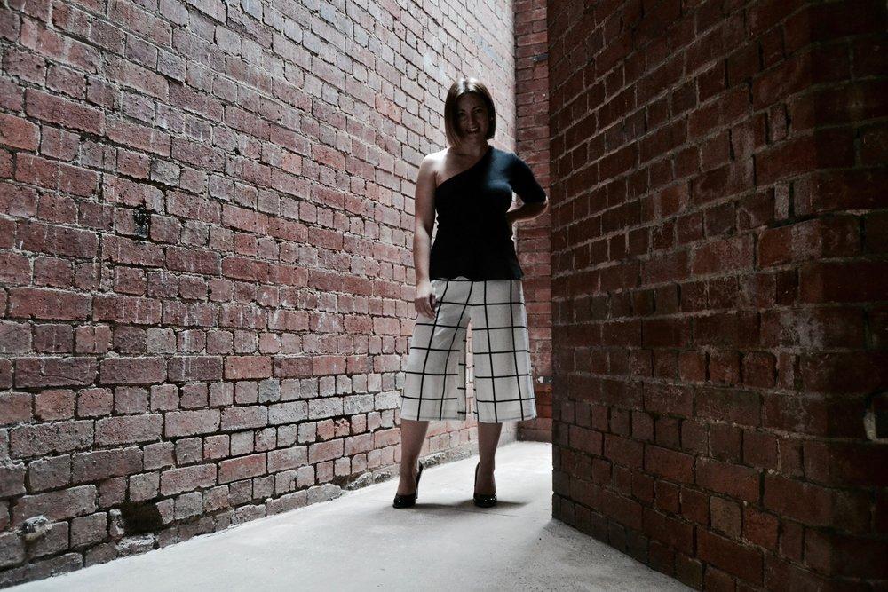grid print culottes