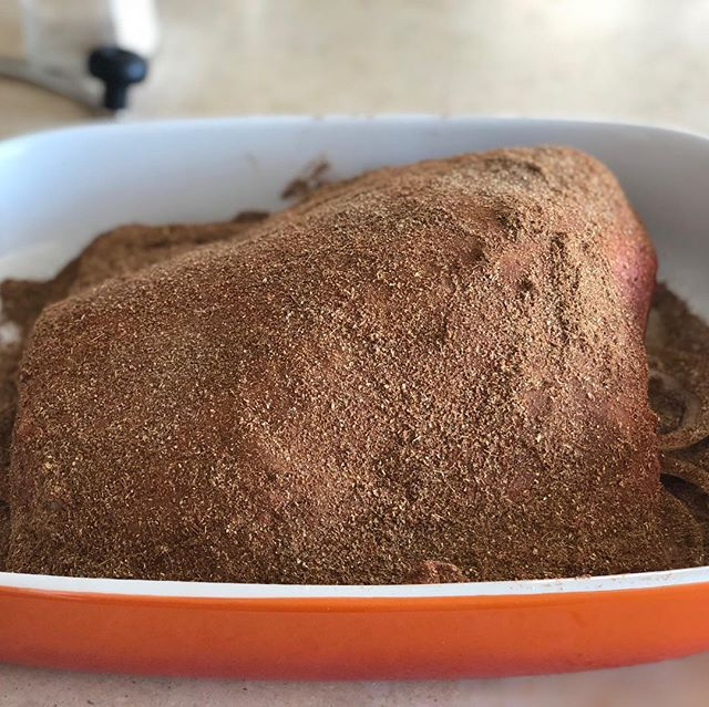 What's been cooking lately? Well we've been testing out new recipes for our menu and we're quite pleased with the result! This lamb shoulder is about to be slowly roasted for 4hrs and rubbed with no less than 10 different spices. We're getting ready for #southbankmarket 01/02/03 June. See you there! #homekitchen #testkitchen #saj #london #blissst #popup #streetfood #goodfood #soulfood #foodporn #middleeast