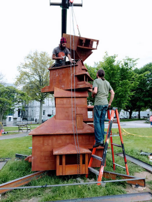 Installation of  Judith Hoffman's   The American Dream,  2016 in Lincoln Park, Portland, Maine.