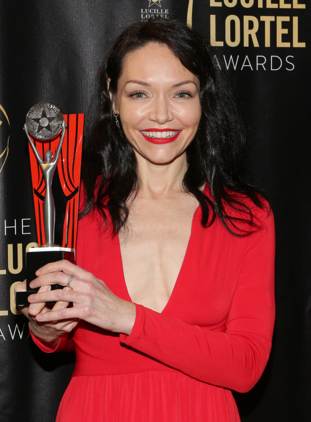Katrina Lenk with her Lucille Lortel trophy