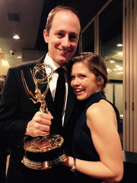 Lisa Joyce & Baz Hatfield at the 2017 EMMYS