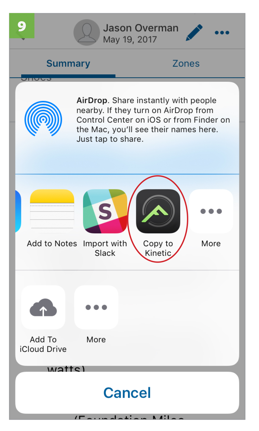 On the sharing selection bar, select  COPY TO KINETIC .