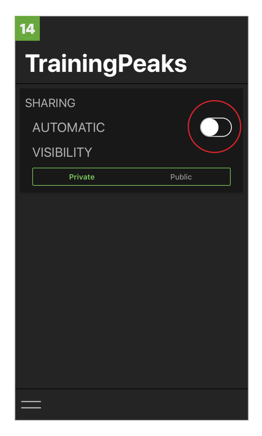 Toggle to  AUTOMATIC  to automatically share workouts ridden in Kinetic Fit to TrainingPeaks. Select  PRIVATE  or  PUBLIC  for sharing visibility in TrainingPeaks.