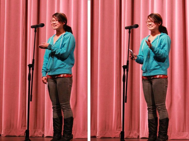 AGE 17: Performing at a slam poetry night, 2012