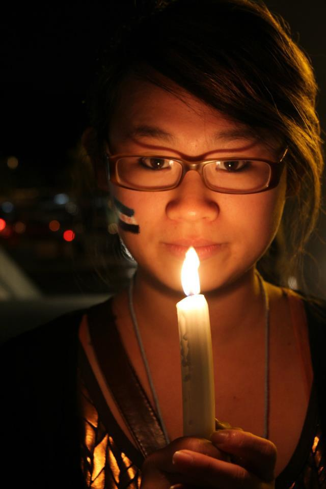 AGE 17: At a candlelight vigil for the slaughter of civilians in Syria (*sigh* this was back in 2012)