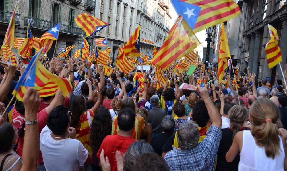 Pro-independence supporters take to the streets of Barcelona.