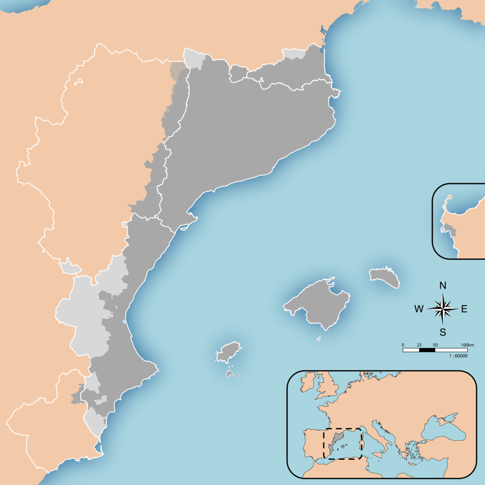 "A map of ""els països catalans"", the Catalan Countries in English. The (controversial) term refers to those territories where the Catalan language, or a variant of it, is spoken."
