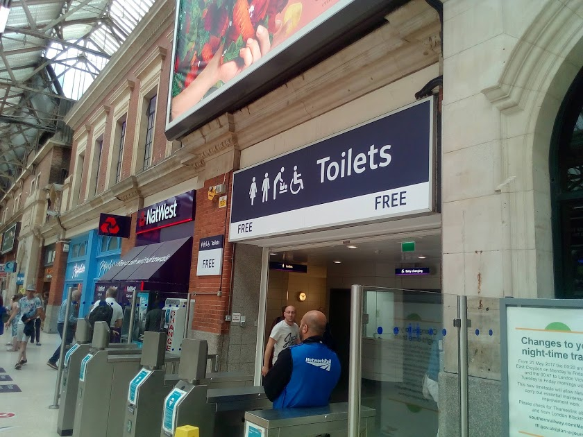 Free public toilets at Victoria station.