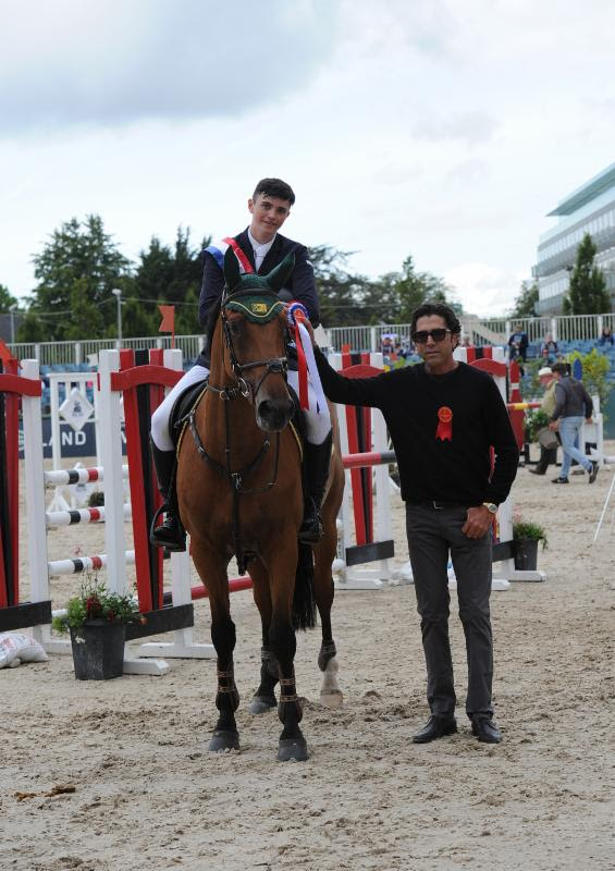 Mark Finnerty and Emma with Michael Meller. - Photo courtesy of the Dublin Horse Show