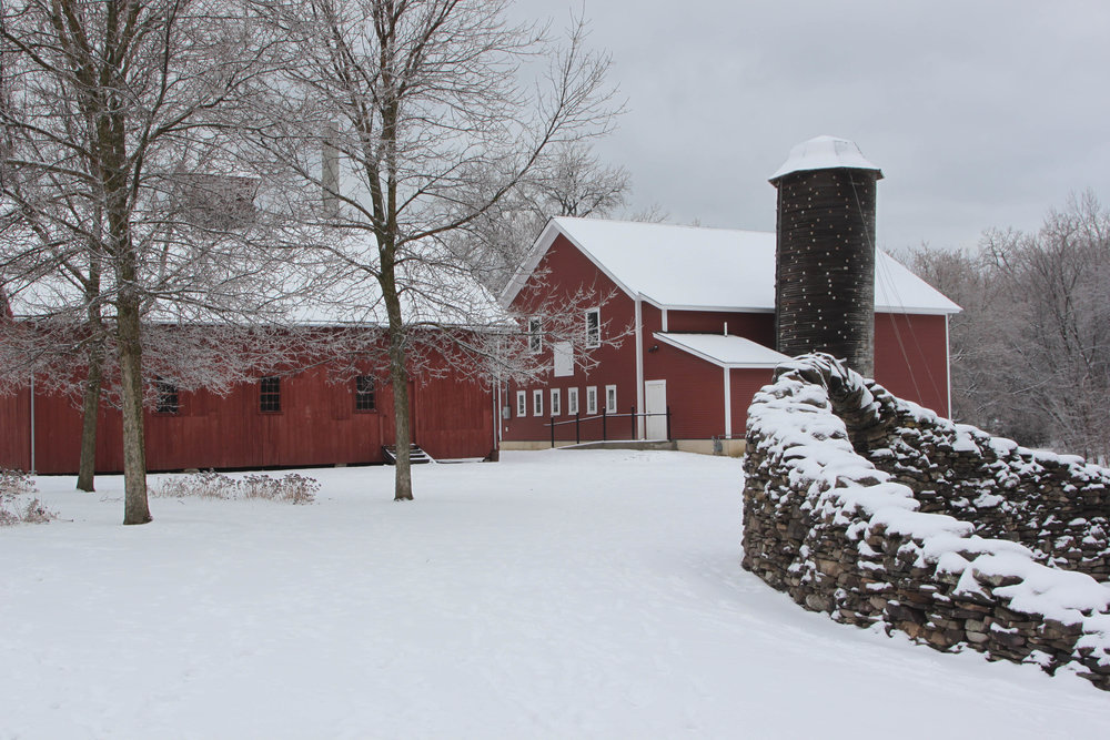 Community barn (right) New Dairy Barn (Left)