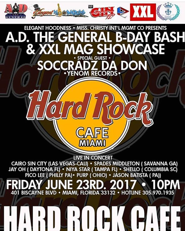 Live @hardrockcafemiami tonight. @adthegeneral birthday bash! #xxl #eleganthoodness #concert #miami #miamibeach #hardrockcafe #helloshello #600degreez #album #ep #mixtape #applemusic #tidal #soundcloud #spotify #youtube #videos #videography #mtvjams #bet #recordingartist #rapper #producer songwriter #dj #indiemusic #undergroundhiphop #culture #lifestyle