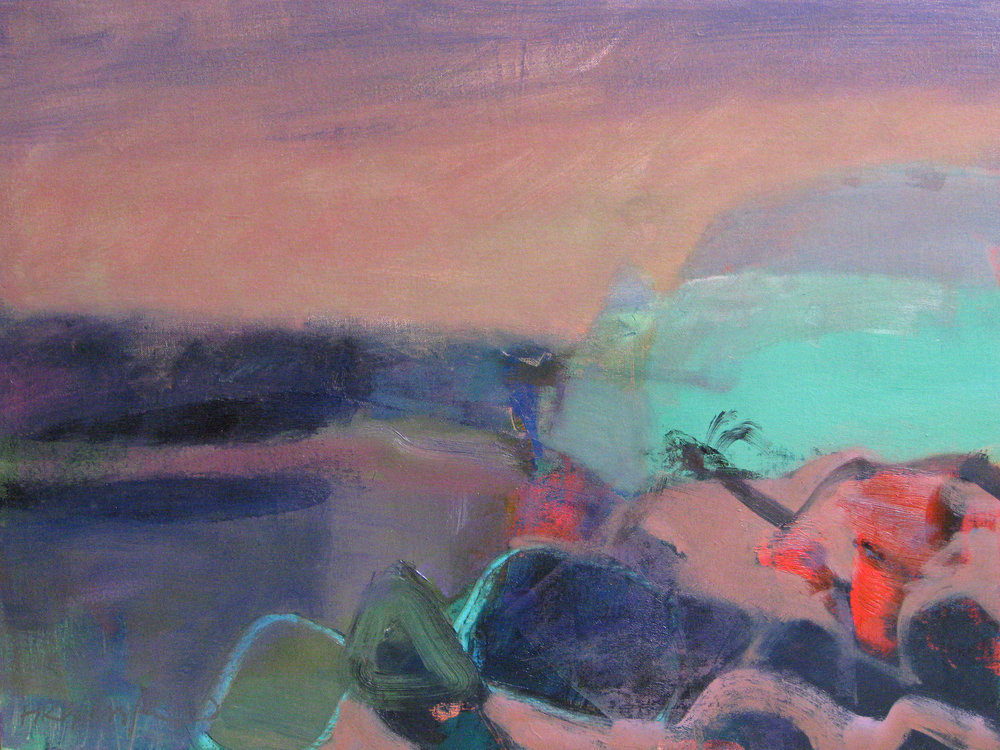 Headland and Rocks, Catterline • Oil on Board • POA