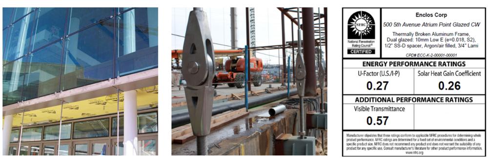 Figure 4. Construction photos; soffit (left) and bottom cable connection (center), NFRC Label Certificate. Courtesy of NBBJ.