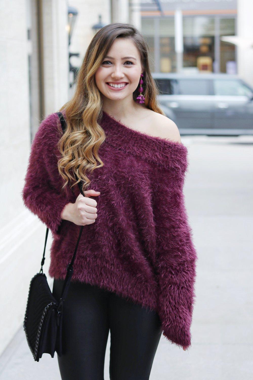 cad69b0e Fuzzy OTS Sweater with Leather Leggings — Kristine's Kaleidoscope