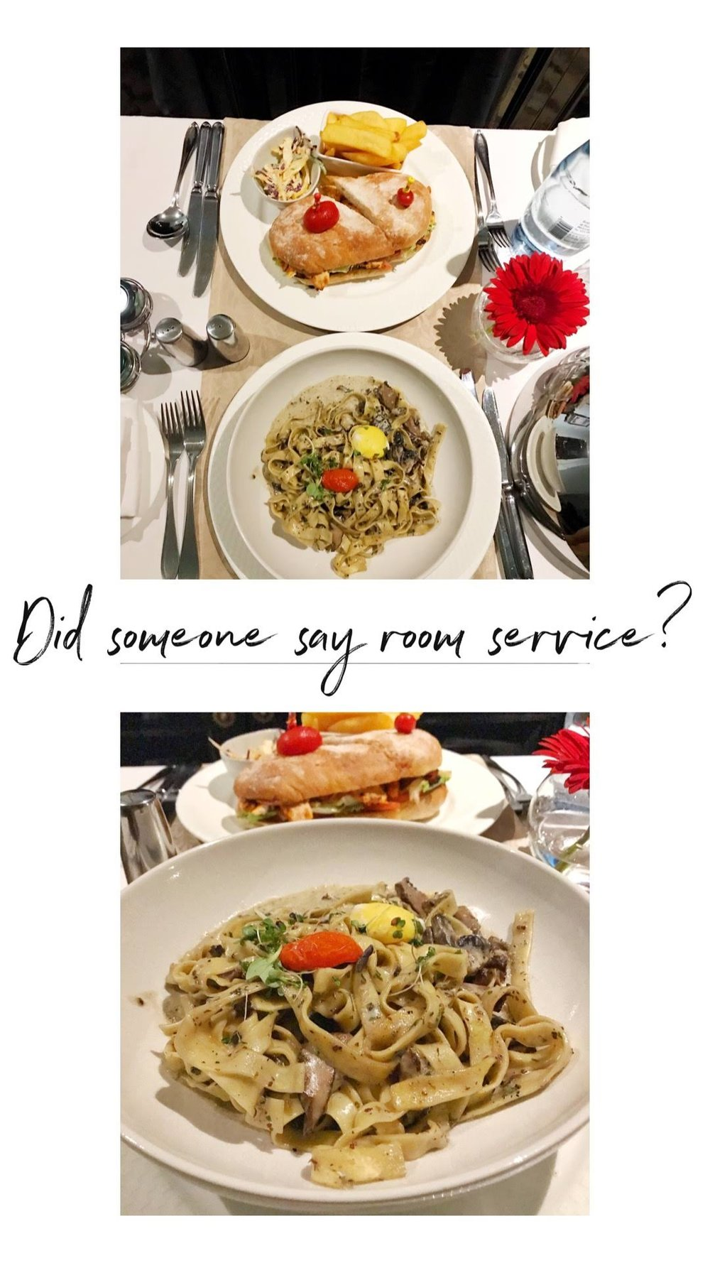 First Time Ordering Room Service - So after our long day we were both exhausted from being out in the sun and being jetlagged. Aria went to sleep at 6PM and poor me was left to fend for myself, so I ordered room service!I ordered Biltong Carbonara and omg it was seriously so so good! I would def order that again and could eat it several times!