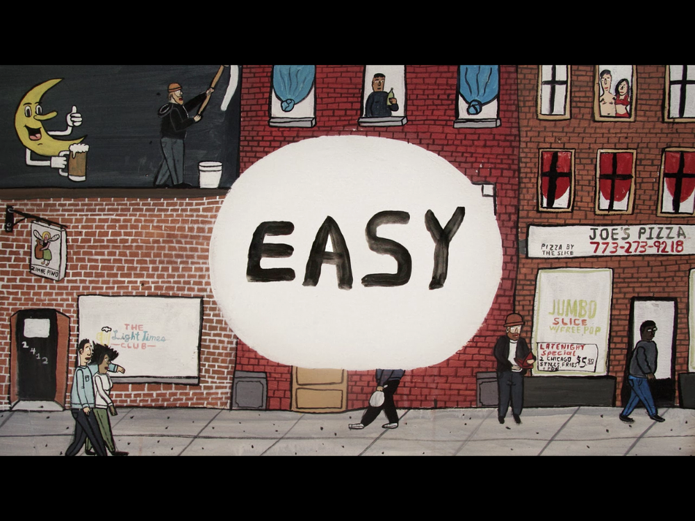 The title card for one episode of EASY by Chicago artist Don't Fret (who is also fictionalised in the episode as an artist who designs labels for an illegal home brewing operation)