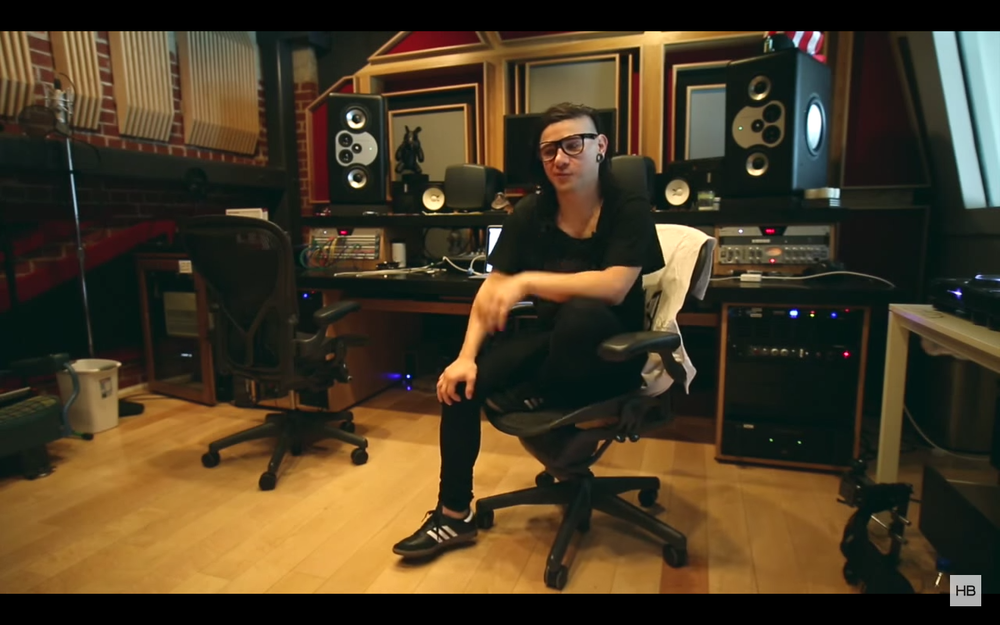 Skrillex in his home studio